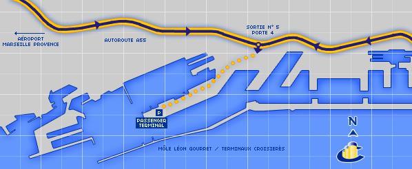 Mapa luke Marsej i veza sa autoputem